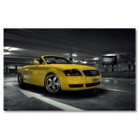 Αφίσα (μαύρο, λευκό, άσπρο, Audi, TT, ανοικτό αυτοκίνητο, αυτοκίνητο, κίτρινος)